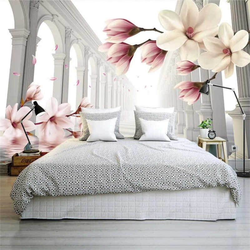 Фото спальни с 3д обоями с крупными цветами.