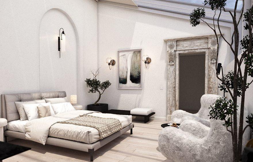 Аксессуары в белой спальне