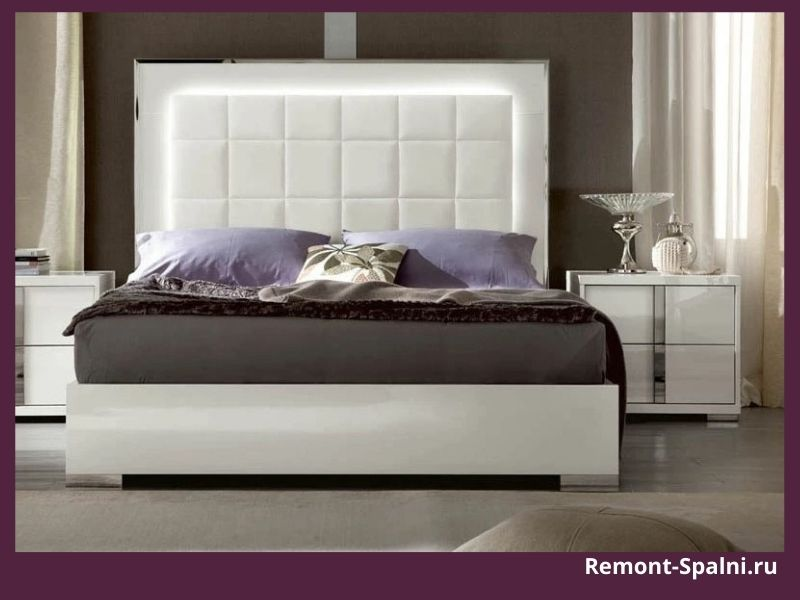 Фото белой кровати с подсветкой