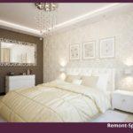 Бежевая спальня с белой мебелью