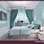 Бирюзовая спальня с белой мебелью