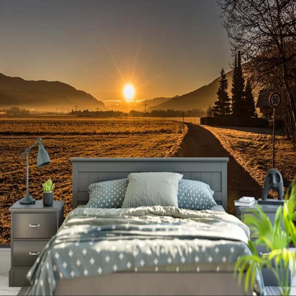 Фото обоев 3д для спальни с закатом.