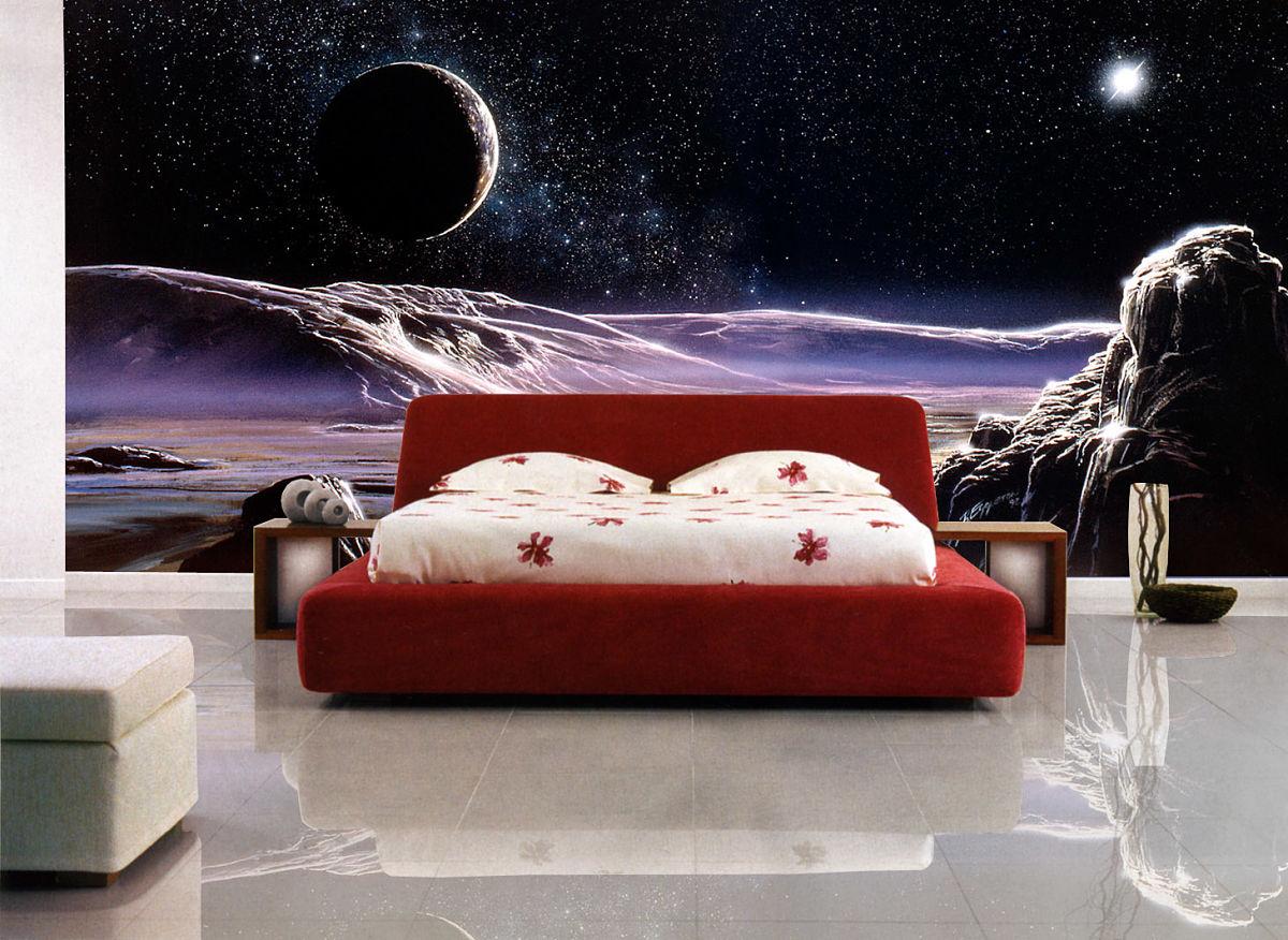 Фото просторной спальни с 3d обоями в интерьере.