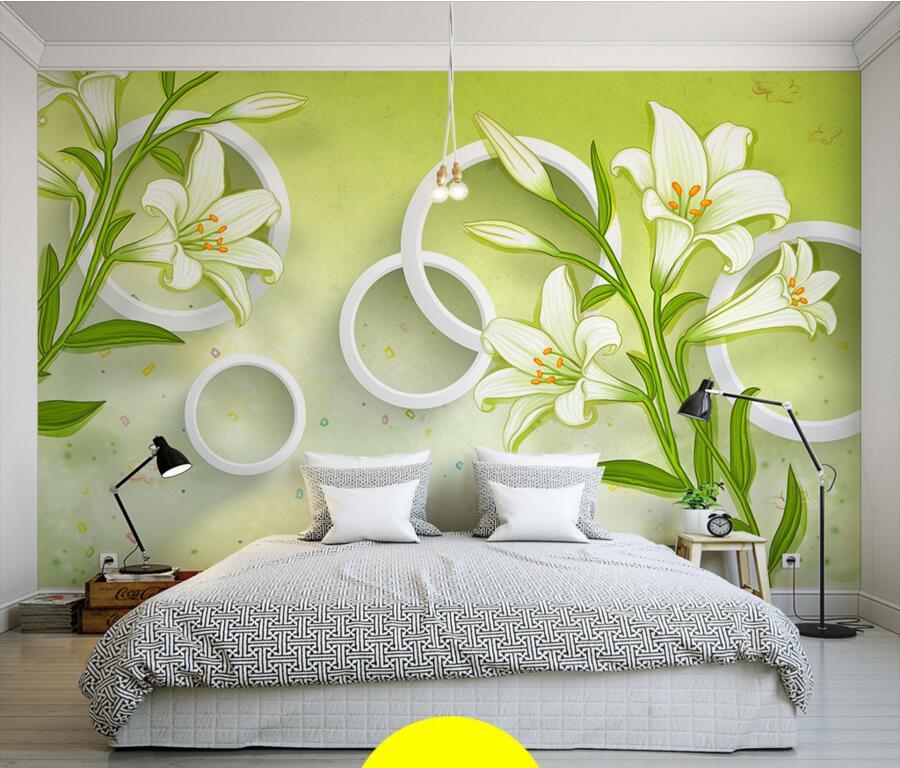 Фото цветочных обоев 3д, расширяющих пространство, в спальне
