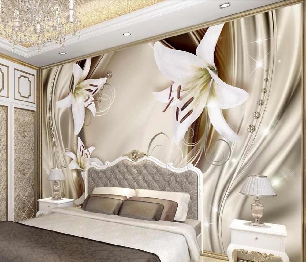 Фото спальни в классическом стиле с 3д-обоями.