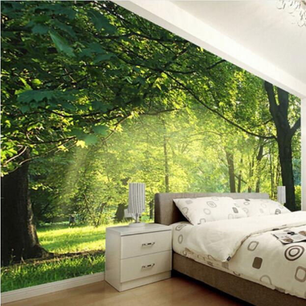 Фото 3д обоев для спальни с лесным мотивом.