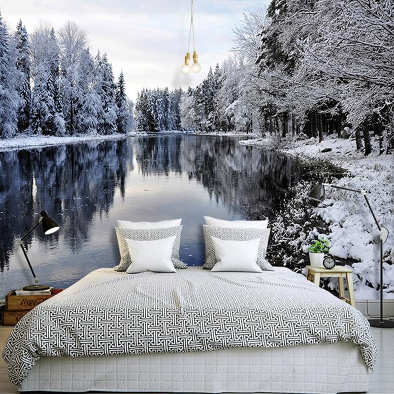 Фото 3д обоев с зимним пейзажем.