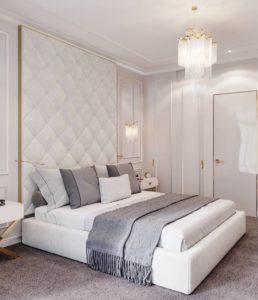 Освещение в белой спальне