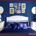 Спальня в синем цвете с белой мебелью
