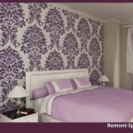 Сиреневая спальня с белой мебелью