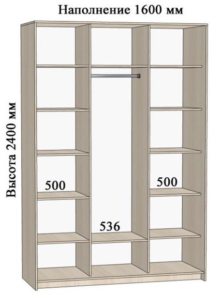 Схема шкафа-купе с полками