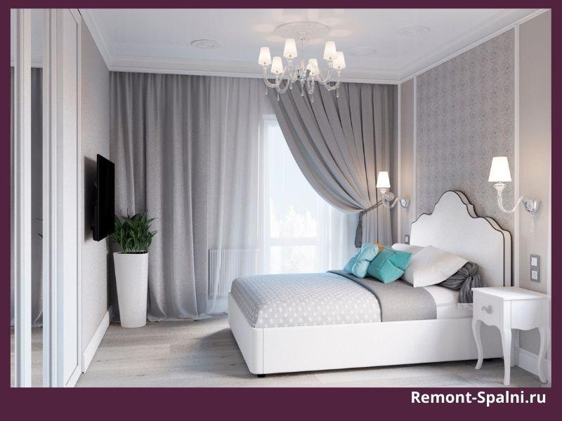 Фото спальни с белой мебелью и шторами в один тон с покрывалом