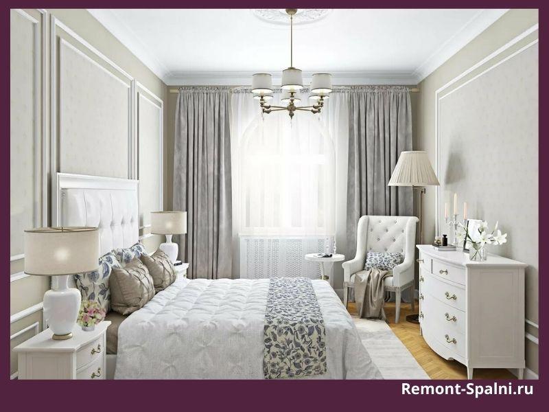Фото светлой спальни с белой мебелью