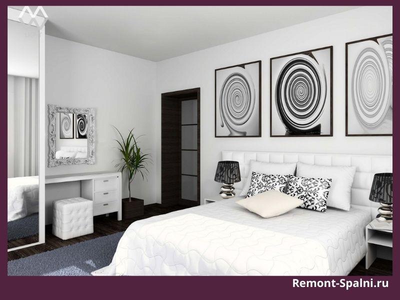 Фото серой спальни с белой мебелью