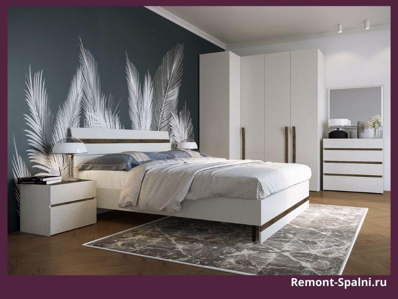 Фото белой мебели в спальне с фотообоями