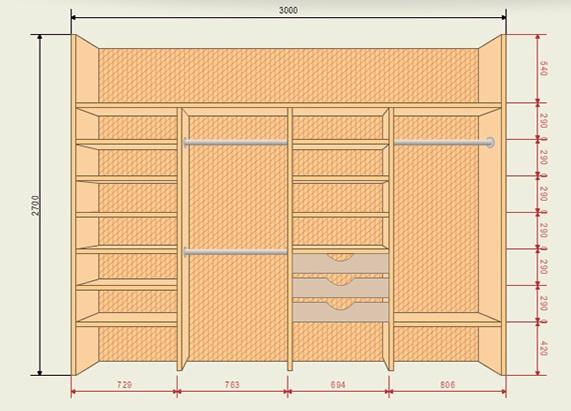 Чертеж шкафа-купе шириной 3 метра