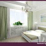 Зеленая спальня с белой мебелью