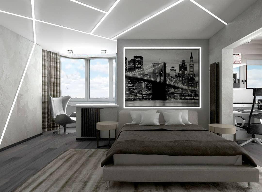 Спальня с присоединённой лоджией